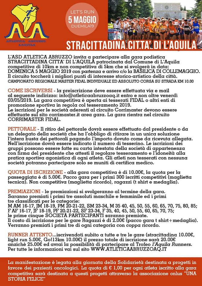 Calendario Promozione Abruzzo.Stracittadina Regolamento 2019 A S D Atletica Abruzzo L